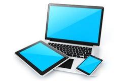 Digital apparater-labtop, minnestavla och ilar telefonen Arkivbild