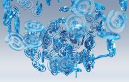 Digital arobase blue sphere 3D rendering. Digital arobase blue sphere on grey background 3D rendering Stock Photos
