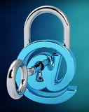 Digital arobase padlock 3D rendering. On blue background Royalty Free Stock Images