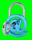 Digital arobase padlock 3D rendering. On green background Royalty Free Stock Photo