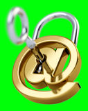 Digital arobase padlock 3D rendering. On green background Stock Photography