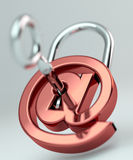 Digital arobase padlock 3D rendering Stock Image