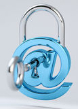 Digital arobase padlock 3D rendering. On grey background Stock Photos
