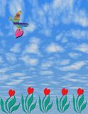 Digital Art of 2D  Five  Hearts Grow Plants With Bird and heart. Digital Art of 5 Hearts Growing Against a Blue Puffy Cloud Sky background Stock Image