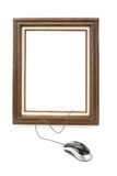 Digital Art. Wood Picture Frame and computer Mouse, concept of digital art produce Royalty Free Stock Image
