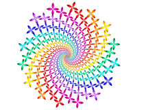 Digital Art Abstract Rainbow Flowers Spiral Motif. Geometric abstract rainbow fractal flowers spiral motif Royalty Free Stock Photos