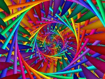 Digital Art Abstract Rainbow Spiral Background Arkivbilder