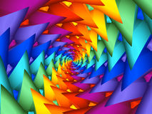 Digital Art Abstract Rainbow Spiral Background. Geometric abstract rainbow fractal spiral tunnel background Stock Images