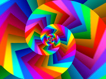 Digital Art Abstract Rainbow Spiral Background. Glossy shiny geometric abstract Rainbow spiral background Stock Images