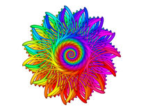 Digital Art Abstract Rainbow Spiral Motif Image stock