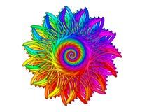 Digital Art Abstract Rainbow Spiral Motif Stock Image