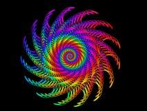 Digital Art Abstract Rainbow Spiral Motif. Geometric abstract rainbow fractal spiral motif Stock Image