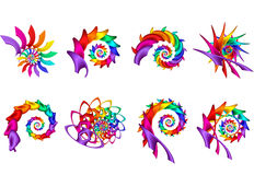 Digital Art Abstract Rainbow Spirals. Geometric abstract Rainbow spirals  composite Stock Photos