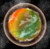 Orange and green alien planet. Digital art of an alien planet with breathable atmosphere surrounded by shining stars Royalty Free Stock Photography