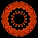Orange armchairs seen through kaleidoscope. Digital art design. Abstract colorful  texture of orange armchairs  on black Royalty Free Stock Photos