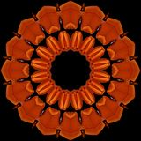 Orange  armchairs seen through kaleidoscope. Digital art design. Abstract colorful  texture of orange  armchairs  on black Royalty Free Stock Photo