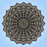 Digital art design, ceiling seen through a kaleidoscope. Digital art design. Abstract colorful fractal texture of an arched roof of a market hall royalty free illustration