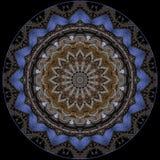 Digital art design. Filigree blue oriental pattern. Digital art design. Abstract pattern of a wall with arabic pattern seen through kaleidoscope royalty free illustration