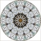 Digital art design, filigree pattern of a glass roof. Digital art design. Abstract fractal texture, glass roof seen through kaleidoscope royalty free illustration