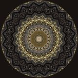 Digital art design in filigree pattern in golden and grey colors. Digital art design.Elegant pattern in golden and brown on black background Stock Photography