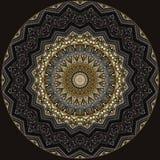 Digital art design in filigree pattern in golden and grey colors. Digital art design.Elegant pattern in golden and brown on black background vector illustration