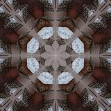 Digital art design made of tables and chairs seen through kaleidoscope. Digital art design. Abstract fractal texture made of tables and seats Stock Photos