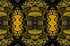 Mysteriously digital art design of interlocking circles. Digital art design. Pattern with architectural mysteriously interlocking circles in yellow green and vector illustration