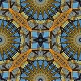 Mysteriously digital art design of interlocking circles and star. Digital art design. Pattern with architectural mysteriously interlocking circlesand stars in stock illustration