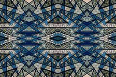 Mysteriously digital art design of interlocking stars. Digital art design. Pattern with architectural mysteriously interlocking stars in blue stock illustration