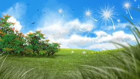 Digital art of a fresh green meadow in spring Stock Image