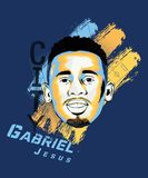 Digital art of Gabriel Jesus - Brazilian footballer. Digital art of Gabriel Jesus - Brazilian footballer who currently plays for English club Manchester City royalty free illustration