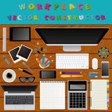 Digital art and graphic design. Working place in flat design. Co Royalty Free Stock Photo