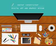 Digital art and graphic design. Working place in flat design. Co Royalty Free Stock Photography