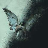 Digital art of a graveyard angel disintegrating into a black background. Digital art of a graveyard angel disintegrating between a light and black background Stock Photography