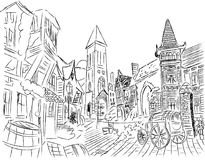Digital art illustration hand drawn scene. Europe village buildings and houses Stock Photography