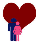 Digital Art Illustration of a Man and Woman in Pink and Blue in. Digital Art Illustration of a Man and Woman Couple  in Pink and Blue in front of a giant heart Stock Photo