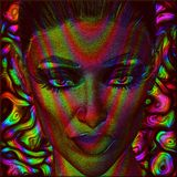 Digital art image of woman's face with abstract color effects. An abstract background plus matching facial filter add to the beauty and mystery of this woman's Royalty Free Stock Images