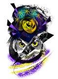 Digital art owl grunge purple rose. Life dead Abstract digital art face trash polka grunge color smudge ink tattoo royalty free illustration