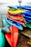 Digital art Painting - colorful canoes parked Royalty Free Stock Photos