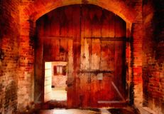 Digital art Painting - old wooden gate, farmhouse.  Stock Photos