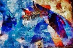 Digital art painting - red fish still life. Digital art painting -blue fish artistic still life Royalty Free Stock Photos