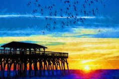 Seagulls Flying Around Myrtle Beach State Park Pier at Sunrise Royalty Free Stock Images