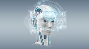 Digital artificial intelligence cyborg interface 3D rendering. Digital artificial intelligence cyborg interface isolated on grey background 3D rendering Stock Image