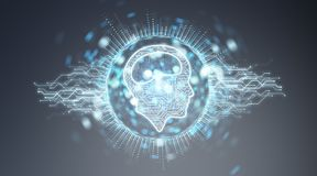 Digital artificial intelligence icon hologram 3D rendering. Digital artificial intelligence icon hologram on blue grey background 3D rendering Royalty Free Stock Photo