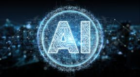 Digital artificial intelligence text hologram 3D rendering. Digital artificial intelligence text hologram on blue city background 3D rendering Royalty Free Stock Images