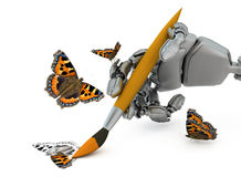 Digital artist. The robot hand holds a paintbrush and draws a butterfly Royalty Free Stock Photos