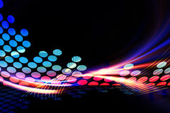Digital Audio Equalizer. A glowing graphic digital audio equalizer illustration with rainbow fractal art accents Stock Photo