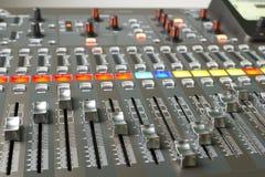 Digital audio mixer. Faders and buttons digital audio mixer stock illustration