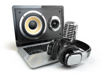 Digital audio or music software concept. Laptop, microphone and Stock Image
