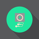 Digital audio player flat icon. Round colorful button, circular vector sign, logo illustration. Royalty Free Stock Images